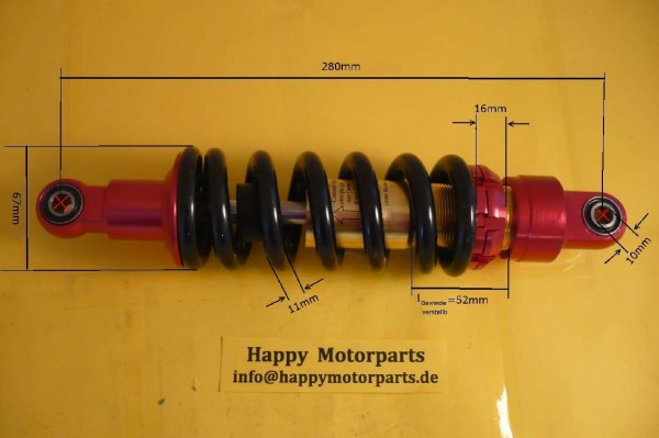 HMParts - Dirtbike Pitbike ATV Quad - verstellbares Federbein 280 mm