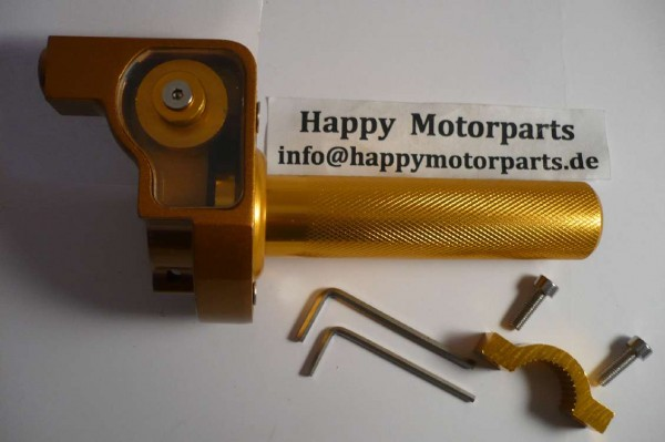 HMParts - Dirt Bike Pit Bike - Performance Race Kurzgasgriff Gasgriff Alu gold