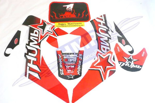 HMParts - Pit Bike Dirt Bike Top Aufkleber Set Neu Thumb Rot